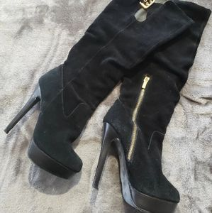 Colin Stuart Leather Suede Knee Boots 8